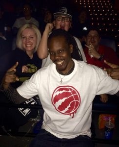 Fans pose with Damian as he hosts one of many Toronto Raptors screening experience events during the 2016 N.B.A. playoffs
